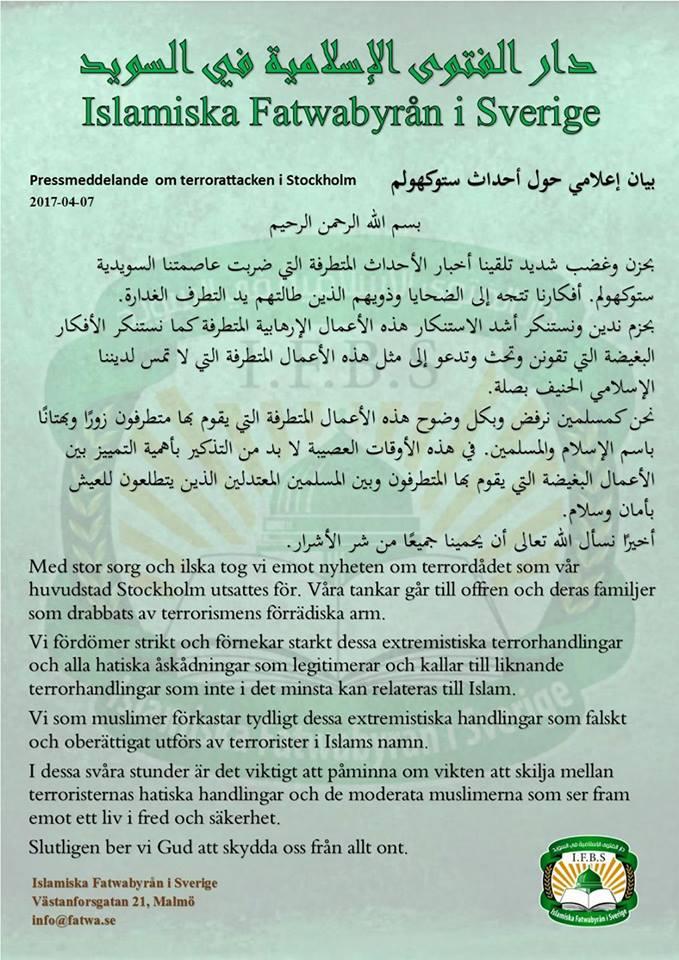 Pressmeddelande om terrorattacken i Stockholm 2017-04-07